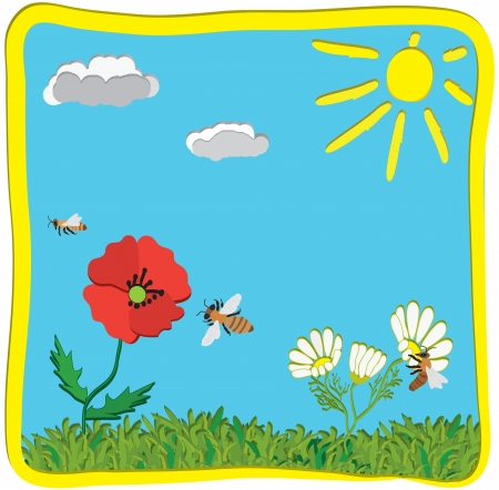 3d cartoon childish greeting card with sun, flowers and bees Vector