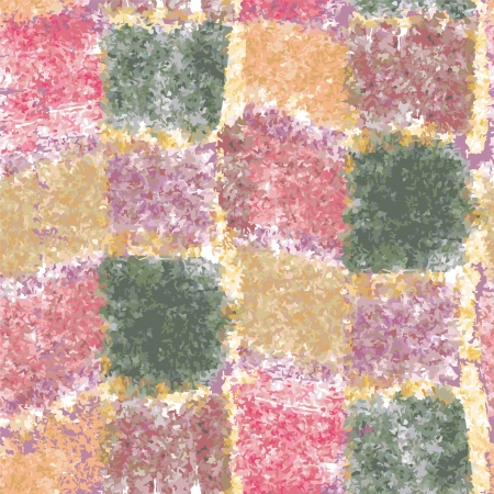 Colorful grunge stained checkered watercolor seamless pattern Vector