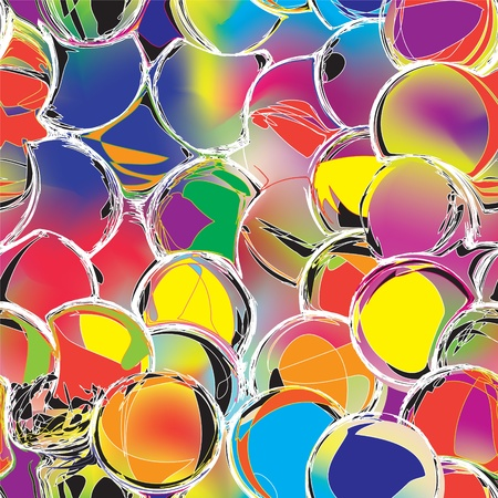 vitrage: Colorful grunge circle seamless pattern, stained glass