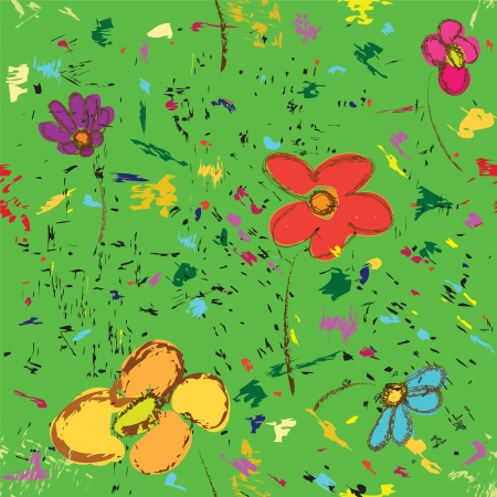 Childish floral sketch seamless pattern,colorful abstract lawn Stock Vector - 16570993