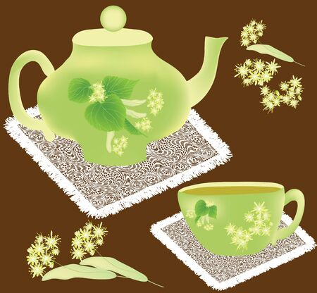 broun: Teapot and cup with linden flowers on broun background with white serviettes