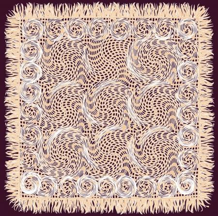 servilleta de papel: Beige servilleta tejido de encaje cuadrado con flecos aislado sobre fondo morado Vectores
