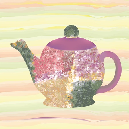 cover background time: Teapot with decorative grunge stained pattern isolated on seamless striped colorful background
