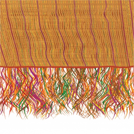 Colorful grunge striped weave knitted blanket with fringe Vector