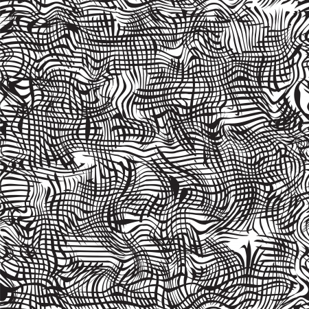 drawing on the fabric: Black and white grunge striped wavy seamless pattern