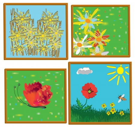 Four childish art painting pictures in 3d frames,abstract flowers, lawn, landscape,butterfly. Stock Vector - 16857534