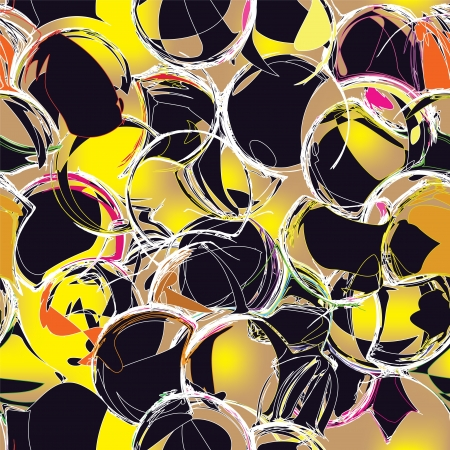 Seamless grunge circle pattern in black and yellow colors Stock Vector - 16965069