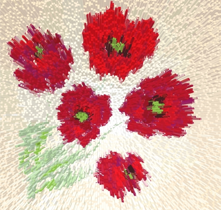 stilish: Stilish mosaic picture with abstract poppies Illustration