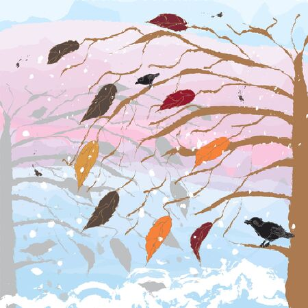 Landscape with tree,birds,cloudy sky.Stained glass version. Stock Vector - 17363863