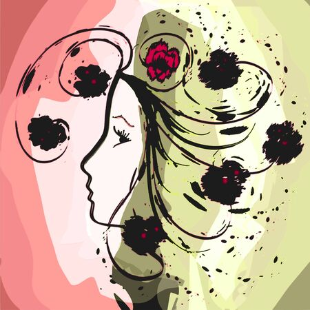 Girl profile in grunge floral watercolor design Vector