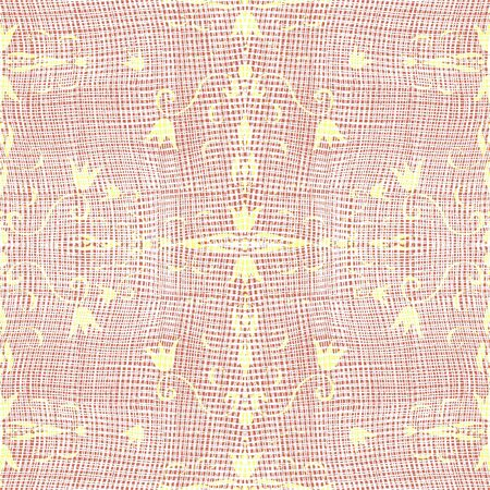 Grunge cloth white texture with floral yellow pattern on brown background Stock Photo