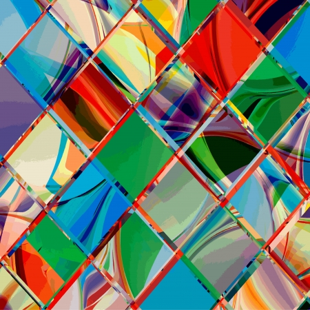 Grunge checkered colorful geometrical composition Vector