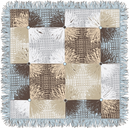 quilted fabric: Checkered quilt weave plaid with decorative circles and fringe