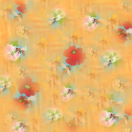 pollination: Composition with bees and flowers on yellow background. Pollination. Stock Photo