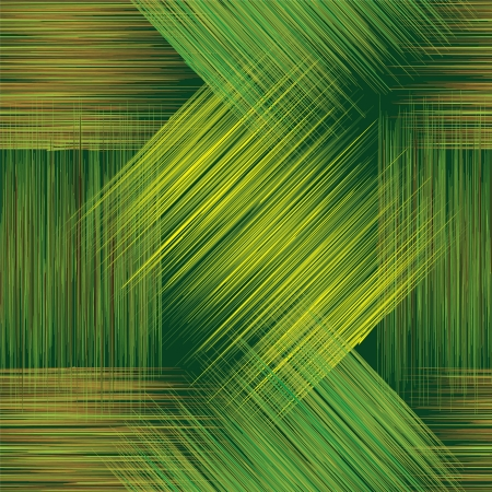 Seamless geometric checkered pattern with grunge stripes in green, yellow and brown colors