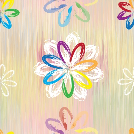 Abstract rainbow flowers on colorful grunge striped background in seamless pattern