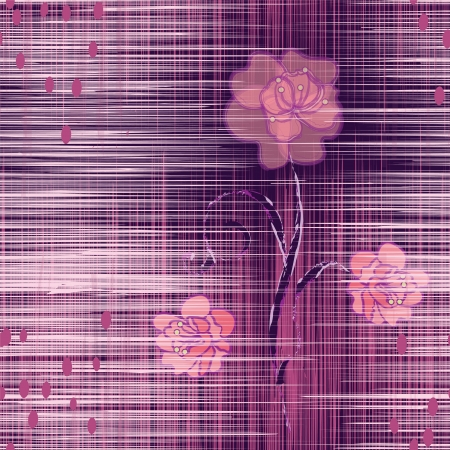 Grunge striped seamless pattern with abstract camellia in violet and pink colors