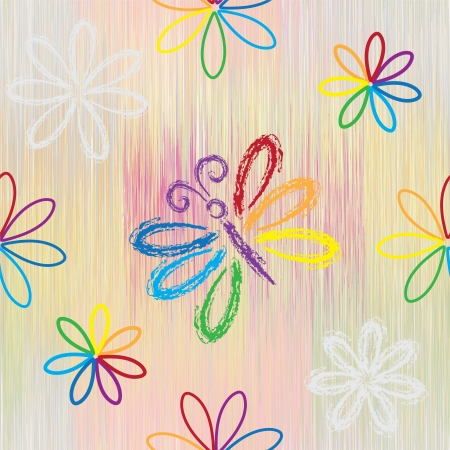 Seamless pattern with rainbow cartoon butterfy and flowers on striped background in pastel colors Vector