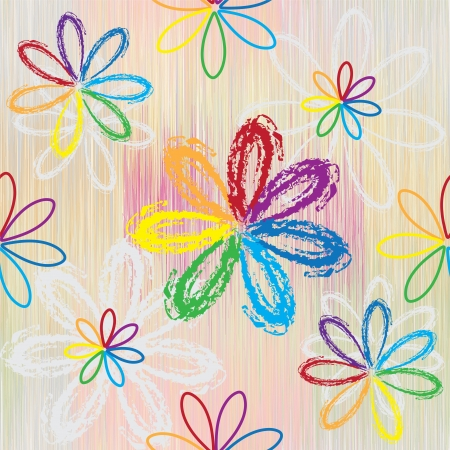 Seamless pattern with abstract rainbow flowers on colorful striped background Vector
