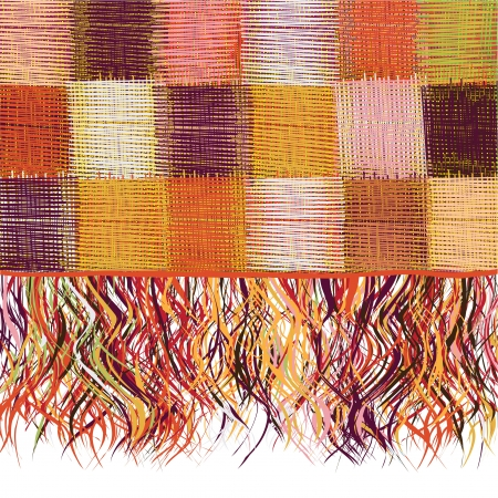 checkered scarf: Checkered  patchwork colorful weave cloth with fringe  Illustration
