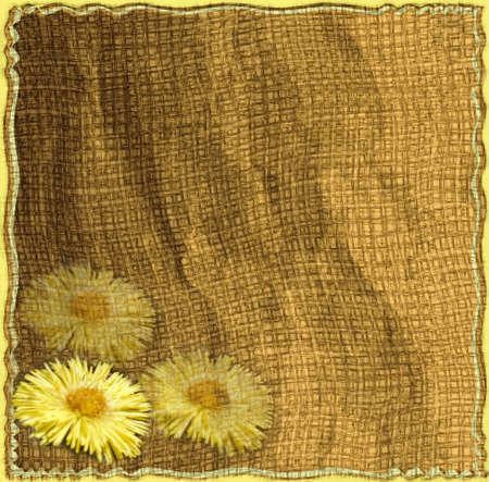 jammed: Invitation floral card with yellow spring flowers on grunge striped jammed background