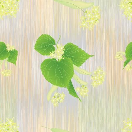 lindeboom: Naadloos patroon met linden bloeiwijze op gestreepte achtergrond in pastel kleuren