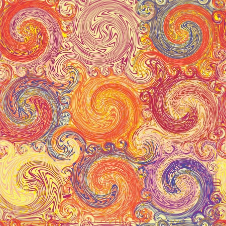 Seamless grunge swirled colorful pattern Vector