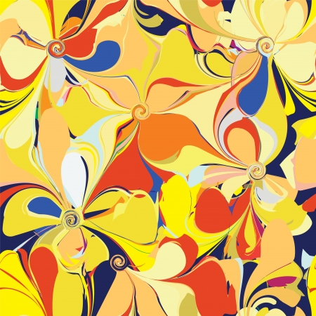 Seamless colorful pattern with stylized flowers Vector