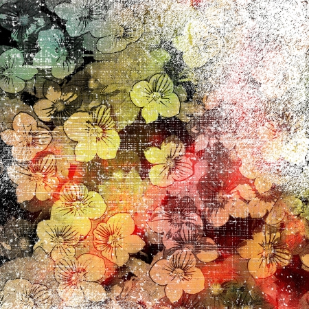 Aging grunge stained and striped colorful wall background  with small flowers                              photo