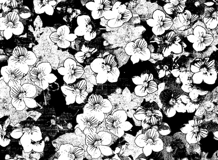 small flower: Black and white sketching floral card with small flowers on grunge stained and striped background