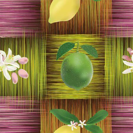 lemon lime: Seamless pattern con limone, lime, fiori sul grunge strisce griglia di sfondo colorato