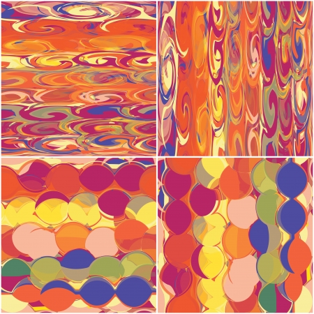 fabric patterns: Set of grunge circled and striped colorful seamless patterns Illustration