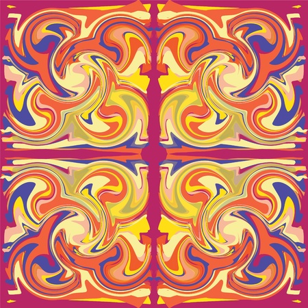 swirl border: Colorful grunge swirled seamless ornamental pattern in red,purple,orange,yellow colors