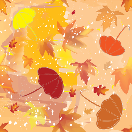 Seamless pattern with umbrellas, leaf fall and sleet  Vector
