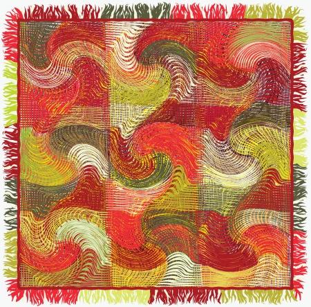 Patchwork tejido colorido grunge plaid rayas con flecos