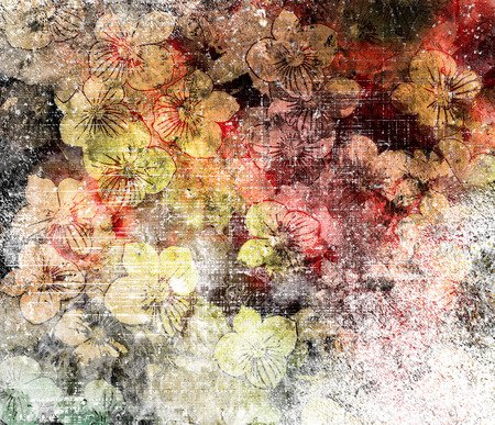 pink and black: Floral grunge stained and striped aged colorful background Stock Photo