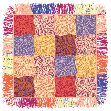 Grunge wavy colorful quilt weave plaid with fringe Vector