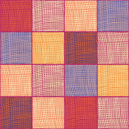 webbed: Grunge striped and checkered quilt cloth seamless background