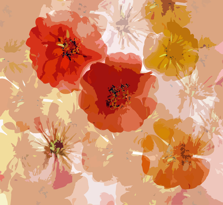 Abstract grunge background with  stylized applique zinnia Vector