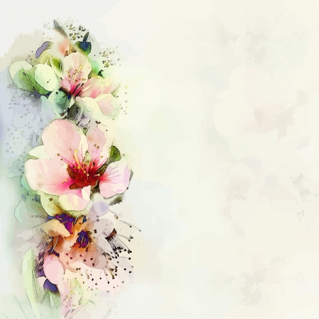 watercolor flower: Greeting floral card with bright spring flowers on haze background in pastel colors Illustration