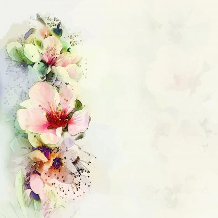flor de durazno: Tarjeta de felicitación con flores brillantes flores de primavera en el fondo de bruma en colores pastel