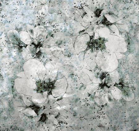 Grunge stained sketching floral background in white,grey,black colors          photo