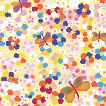 drawing on the fabric: Seamless rainbow childish pattern with abstract flowers and butterflies Illustration