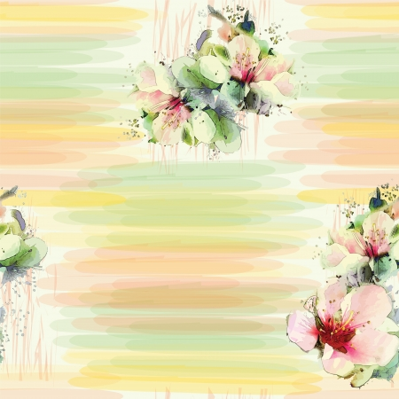 Seamless pattern with spring flowers on grunge striped colorful background in pastel colors