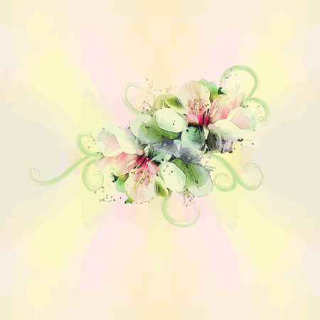 Floral seamless pattern with bouquet on watercolor background in pastel colors Vector