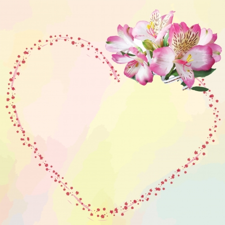 Greeting card with bouquet and abstract heart on light background in pastel colors Vector