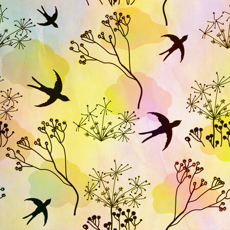 dry flies: Silhouette of swallows and dry flowers on sunrise colorful background
