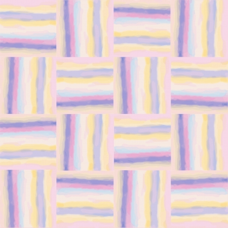 Checkered grunge striped colorful watercolor seamless pattern Vector
