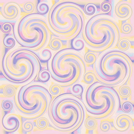 Grunge swirled seamless ornamental pattern in pastel colors Vector