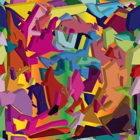 3d seamless composition with colorful chaotic geometrical elements on bright background Illustration